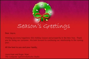 e-Newsletter season's greetings