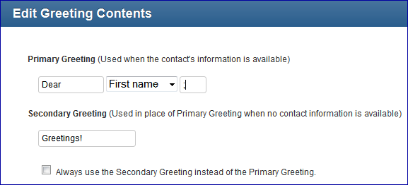 Greeting option in Constant Contact
